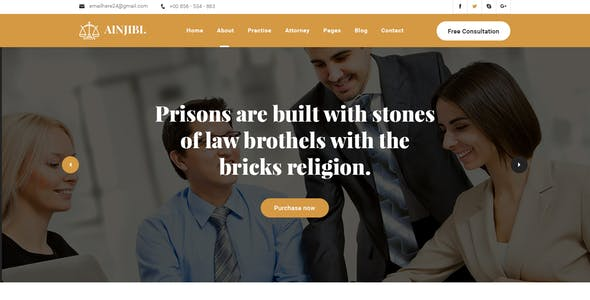 Ainjibi – Attorney and Lawyer HTML5 Template