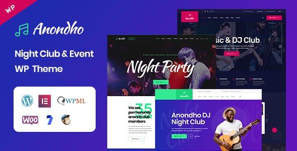 Anondho - Night Club & Event WordPress Theme