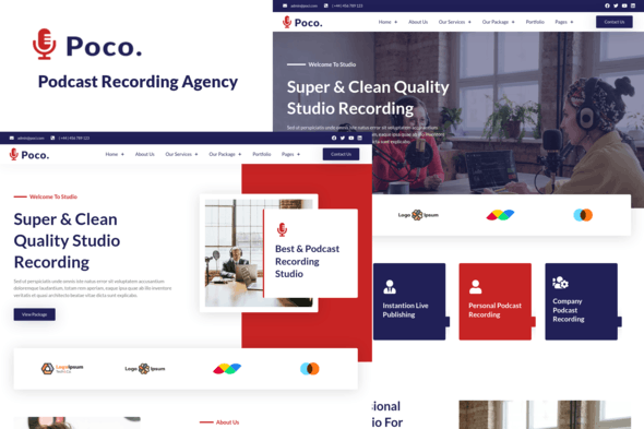Poco - Podcast Recording Studio Services Elementor Template Kit - Music & Bands Elementor