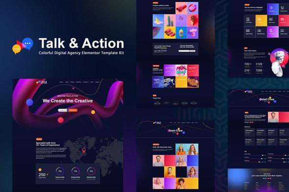 Talk & Action - Colorful Digital Agency Elementor Template Kit - Creative & Design Elementor