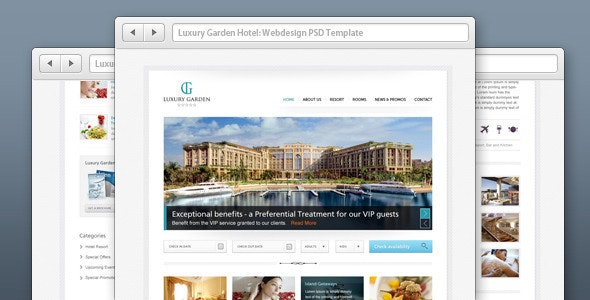 Luxury Garden Hotel Website PSD Template - Travel Retail