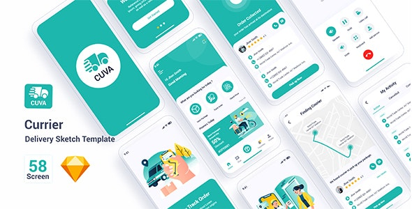 Cuva - Currier Delivery Sketch Template - Sketch UI Templates
