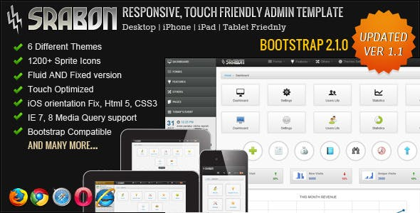 Srabon - Responsive, Touch Friendly Admin Template
