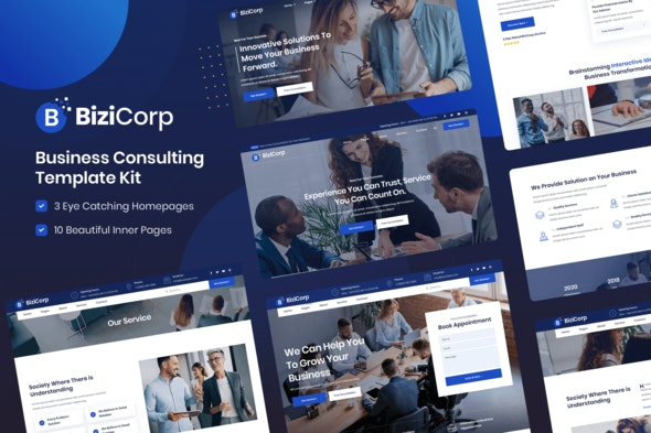 BiziCorp - Business Consulting Template Kit - Business & Services Elementor