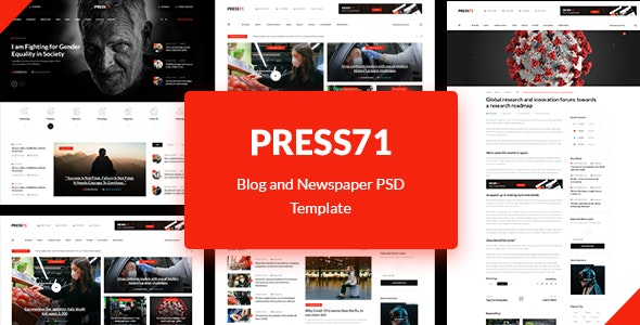 PRESS71 - Newspaper and Blog PSD Template - Business Corporate