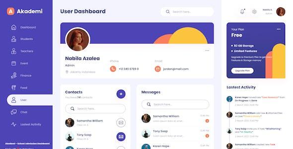 Akademi - Elegant School Admin Dashboard PSD