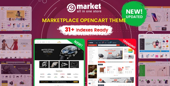eMarket - Multi-purpose MarketPlace OpenCart 3 Theme (31+ Homepages & Mobile Layouts Included) - OpenCart eCommerce