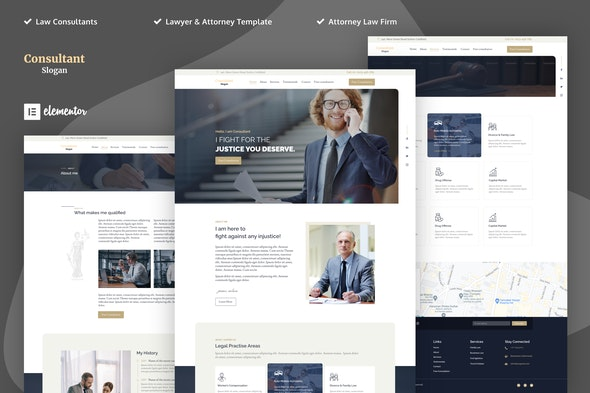 Consultants - Lawyer & Attorney Elementor Template Kits - Finance & Law Elementor