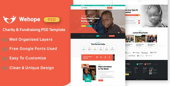 Wehope - Charity & Fundraising PSD Template - Corporate Photoshop