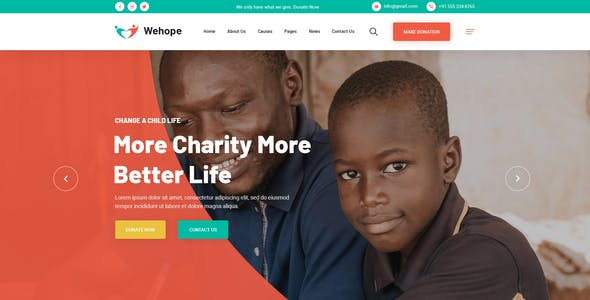Wehope - Charity & Fundraising PSD Template