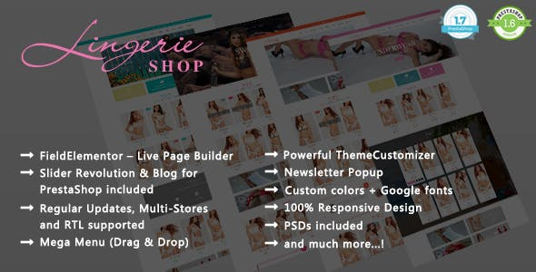 Lingerie Shop - Women Underwear Responsive PrestaShop 1.7 & 1.6 Theme