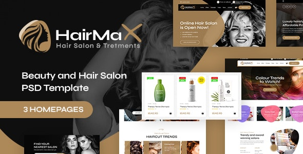 HairMax - Beauty and Hair Salon PSD Template - Health & Beauty Retail