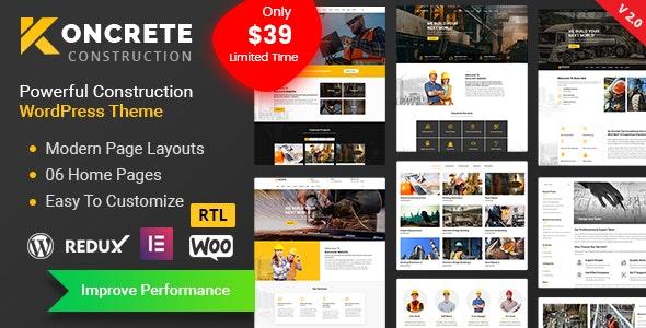 Koncrete v2.0.4 – Construction Building WordPress Theme