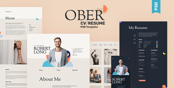 OBER - Resume CV Landing Page PSD Template - Portfolio Creative