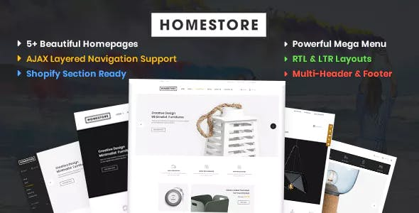 HomeStore – Modern, Minimal & Multipurpose Shopify Theme with Sections