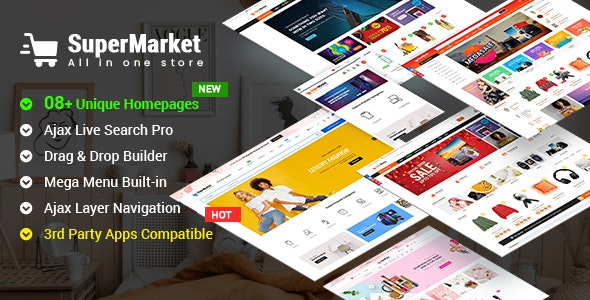SuperMarket - Responsive Drag & Drop Sectioned Bootstrap 4 Shopify Theme - Shopify eCommerce