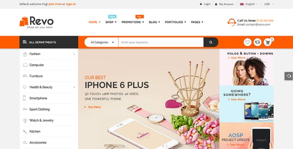 Revo - Creative Multi-Purpose Responsive Shopify Drag & Drop Sections Theme with 10 Layouts Ready