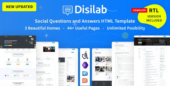 Disilab - Social Questions and Answers HTML Template with RTL