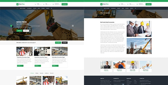 Neon-Press - Construction Business HTML template - Business Corporate