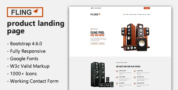 Fling - Product Landing Page Template - Marketing Corporate