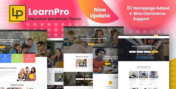LearnPro - Online Course Education WordPress Theme - Education WordPress