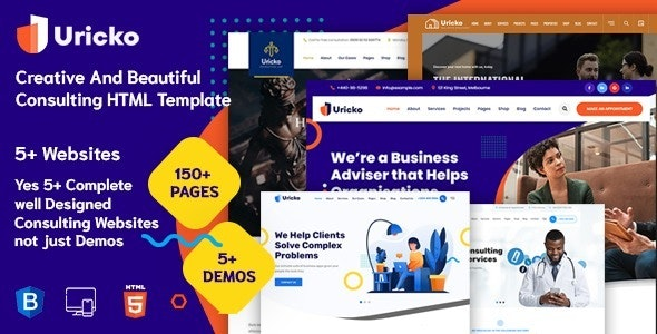 Uricko Multipurpose Consulting HTML Template + RTL Ready - Business Corporate