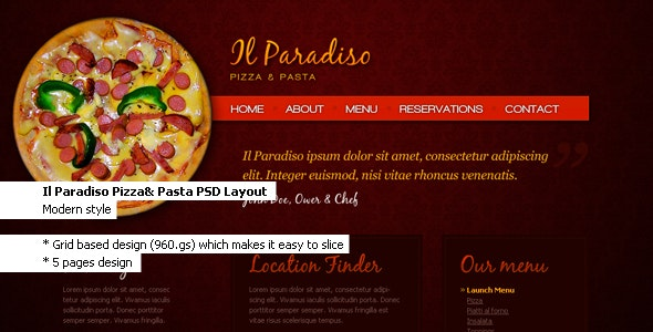 Il Paradiso, Pizza & Pasta - Restaurant PSD Layout - Food Retail