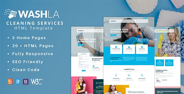 Washla - Cleaning Services HTML Template