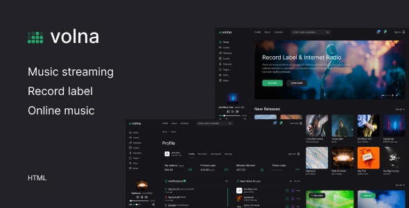 Volna – Record label & Music streaming HTML Template - Music and Bands Entertainment