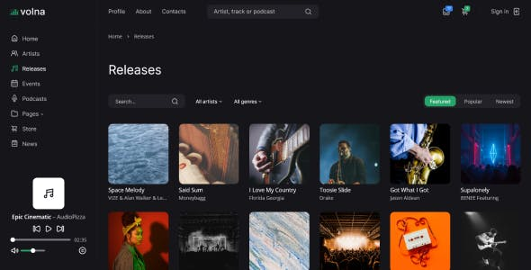 Volna – Record label & Music streaming HTML Template