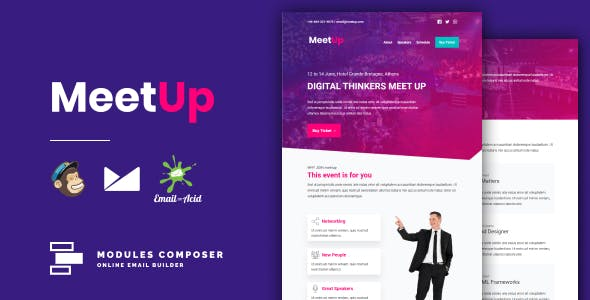 Meetup - Responsive Email for Meetups & Events with Online Builder