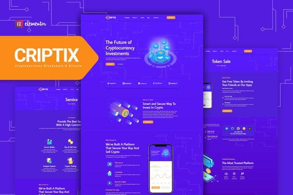 Criptix - Cryptocurrency Blockchain & Bitcoin Elementor Template Kit - Technology & Apps Elementor
