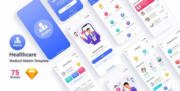 Alesha – Healthcare Medical Sketch Template - Sketch UI Templates