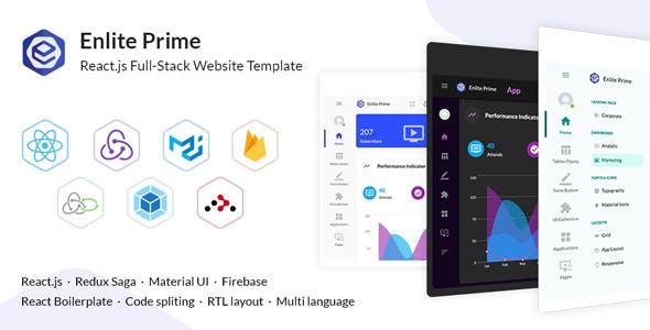 Enlite Prime - React Admin Dashboard Template For Full-Stack Developer