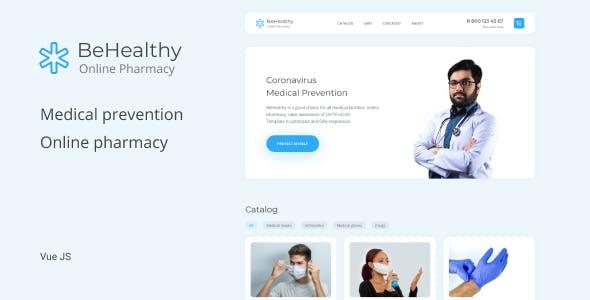 BeHealthy – Coronavirus Medical Prevention, Online Pharmacy Vue Js Template