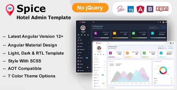 Spice - Angular 12+ Hotel Admin Dashboard Template - Admin Templates Site Templates