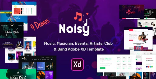 Noisy   Music Adobe XD Template