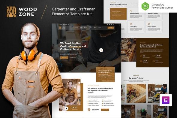 Woodzone – Carpenter & Craftsman Elementor Template Kit - Business & Services Elementor