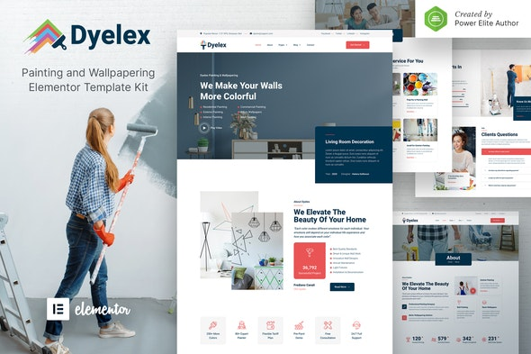 Dyelex – Painting & Wallpapering Service Elementor Template Kit - Business & Services Elementor