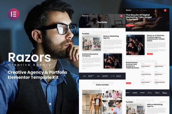 Razors - Creative Agency & Portfolio Elementor Template Kit - Creative & Design Elementor