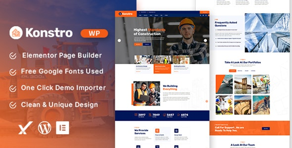 Konstro – Construction WordPress Theme - Business Corporate
