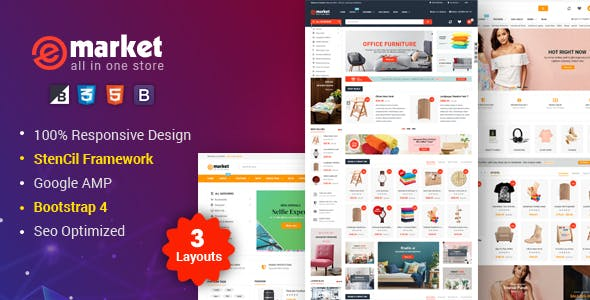 eMarket - Multipurpose StenCil BigCommerce Theme with Google AMP Ready