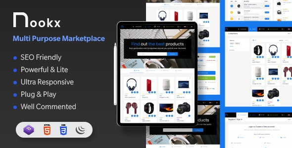 Nookx - Multipurpose Buy & Sell - Digital Marketplace Responsive HTML Template with admin panel - Retail Site Templates