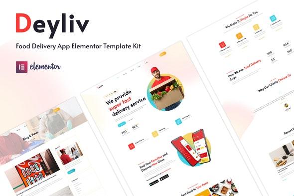 Deyliv - Food Delivery App Elementor Template Kit - Food & Drink Elementor
