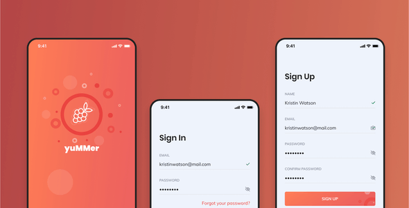 Yummer - Food Delivery Mobile App Figma UI Template
