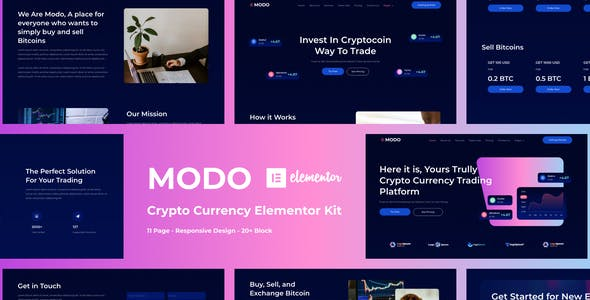MODO - Crypto Currency Elementor Template Kit