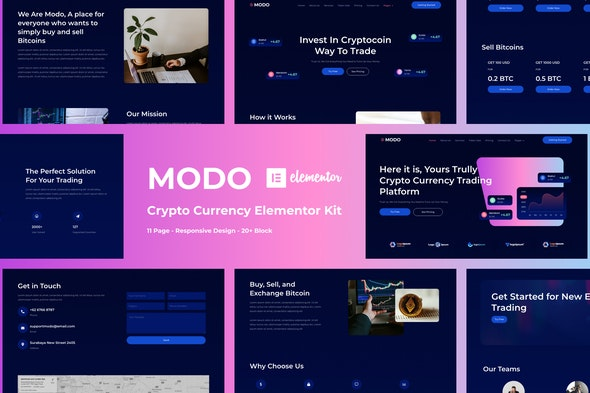 MODO - Crypto Currency Elementor Template Kit - Finance & Law Elementor