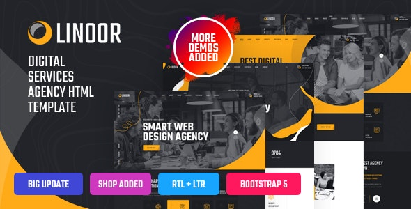 Linoor - Digital Agency Services HTML Template - Business Corporate