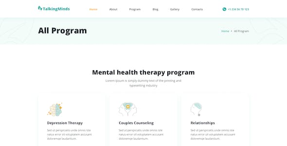 Talking Minds – Psychotherapist Template for XD