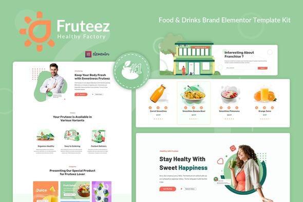 Fruteez - Healthy Food & Drinks Brand Elementor Template Kit - Food & Drink Elementor